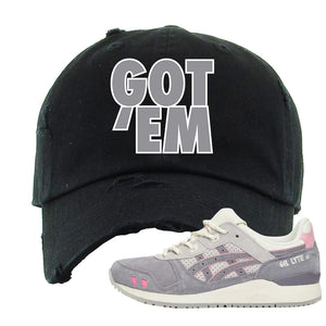 END x Asics Gel-Lyte III Grey And Pink Distressed Dad Hat | Got Em, Black
