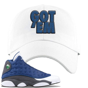 Jordan 13 Flint 2020 Sneaker White Dad Hat | Hat to match Nike Air Jordan 13 Flint 2020 Shoes | Got Em