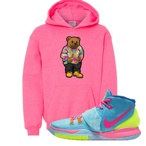 Kyrie 6 Pool Kids Pullover Hoodie | Sweater Bear, Safety Pink