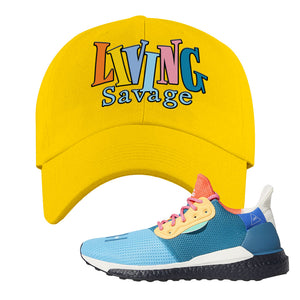 Foot Clan  Pharrel Williams X SolarHU Multicolor  Living Savage  Yellow  Dad Hat    Match your shoes with this Pharrel Williams X SolarHU Multicolor Sneaker Yellow Dad Hat. The Living Savage logo on the front of this Pharrel Williams X SolarHU Multicolor Sneaker Yellow Dad Hat is perfect to match these kicks. Up your match-game now!