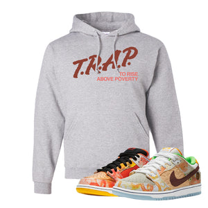 SB Dunk Low Street Hawker Hoodie | Trap To Rise Above Poverty, Ash