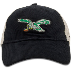 front of Eagles Mesh back hat | Philadelphia Birds Throwback Black Corduroy Trucker Hat