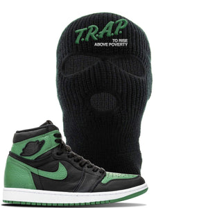 Jordan 1 Retro High OG Pine Green Gym Sneaker Black Ski Mask | Hat to match Air Jordan 1 Retro High OG Pine Green Gym Shoes | Trap To Rise Above Poverty