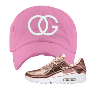 Air Max 90 WMNS 'Medal Pack' Rose Gold Sneaker Pink Distressed Hat | Hat to match Nike Air Max 90 WMNS 'Medal Pack' Rose Gold Shoes | OG