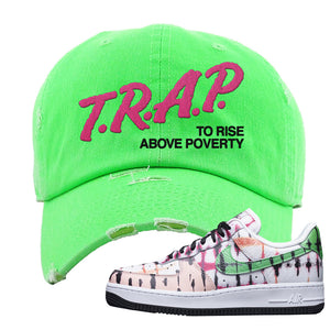 Air Force 1 Low Multi-Colored Tie-Dye Distressed Dad Hat | Neon Green, Trap To Rise Above Poverty