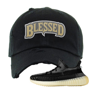 Yeezy Boost 350 v2 Carbon Distressed Dad Hat | Blessed Arch, Black