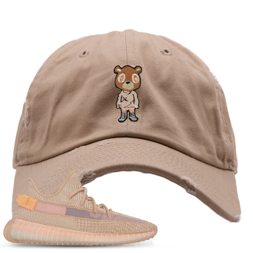 Yeezy Boost 350 Clay V2 Sneaker Match Yeezy Bear Khaki Distressed Dad Hat