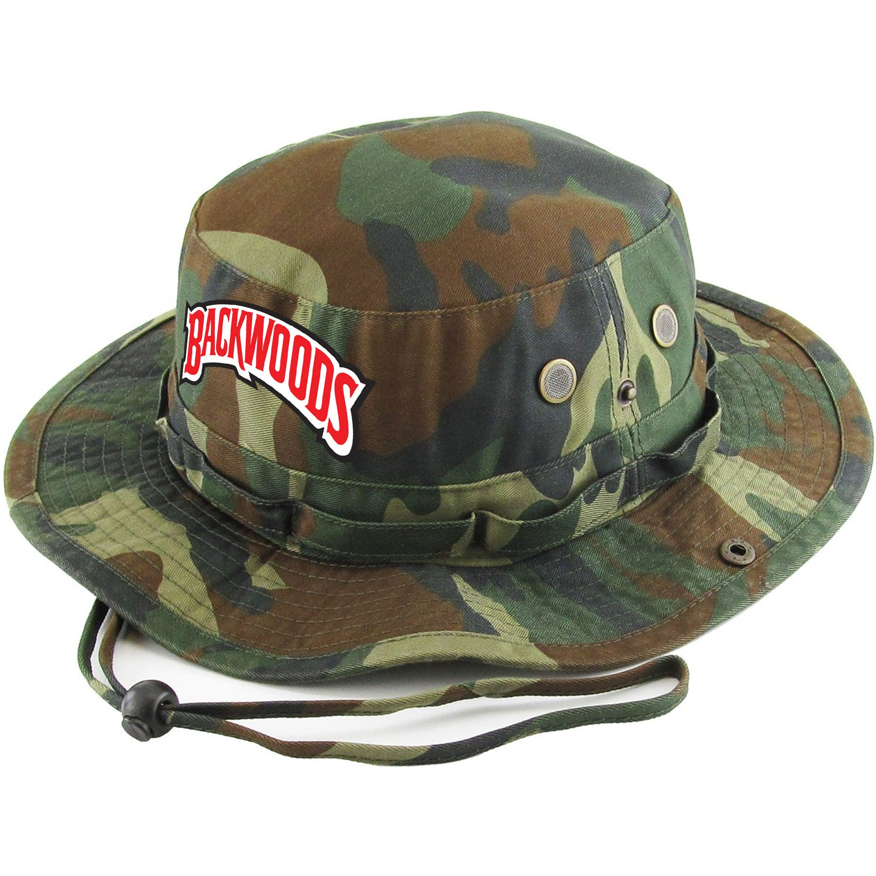 7a9774b59f47ce Embroidered on the front of the camouflage Backwoods Wild n' Mild Cigars Camouflage  Boonie Bucket