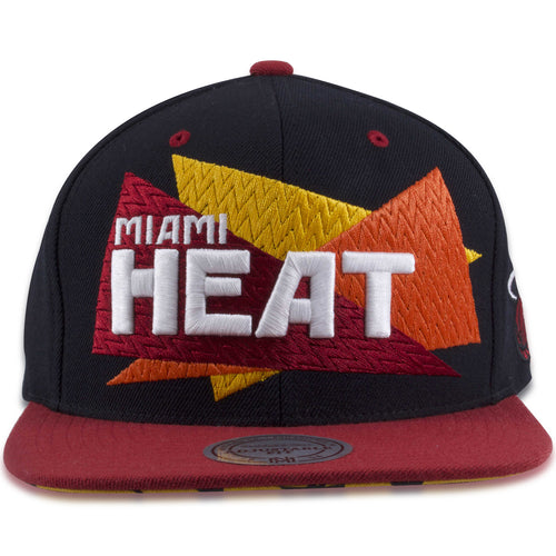 14fc6cc0c31dd Miami Heat Black on Red Sawbuck Mitchell and Ness Snapback Hat