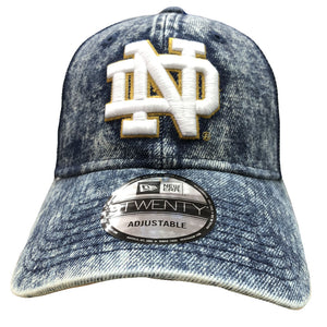 Embroidered on the front of the Notre Dam Bleached Denim dad hat is the Notre Dame logo embroidered in white and tan