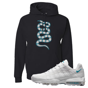 Air Max 95 Ultra White Glacier Blue Hoodie | Coiled Snake, Black