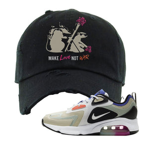 Air Max 200 WMNS Fossil Sneaker Black Distressed Dad Hat | Hat to match Nike Air Max 200 WMNS Fossil Shoes | Army Rats