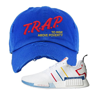 NMD R1 Olympic Pack Distressed Dad Hat | Royal Blue, Trap To Rise Above Poverty