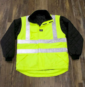 the Police Public Safety | Reflective Safety Vest with Removable Quilted Sleeves | Waterproof Black and Safety Green Vest Jacket has removable black sleeves and silver reflective stripes