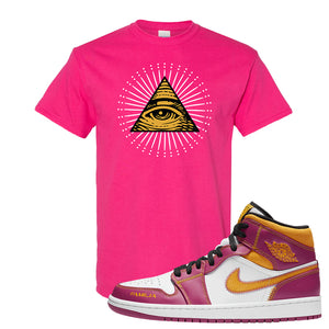 Air Jordan 1 Mid Familia T Shirt | All Seeing Eye, Heliconia