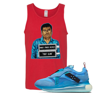 Air Max 720 OBJ Slip Light Blue Tank Top | Red, El Chapo Illustration