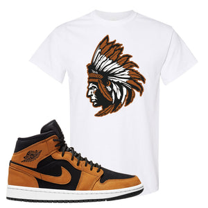 Air Jordan 1 Mid Wheat T Shirt | Indian Chief, White