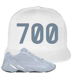 Yeezy Boost 700 V2 Hospital Blue 700 Sneaker Matching White Snapback Hat