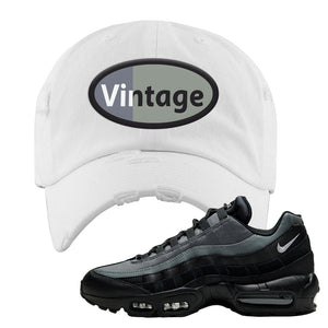 Air Max 95 Black Smoke Grey Distressed Dad Hat | Vintage Oval, White