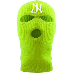 Embroidered on the forehead of the safety yellow new jersey ski mask is the NJ logo