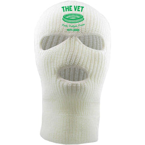 Embroidered on the front of the veterans stadium white 3 hole ski mask is the vet logo