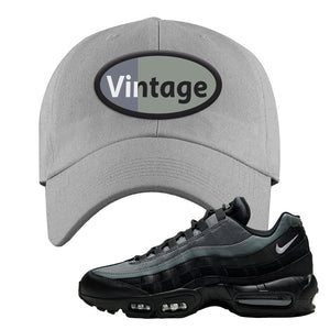 Air Max 95 Black Smoke Grey Dad Hat | Vintage Oval, Light Gray