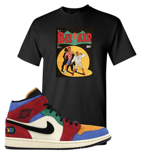 Jordan 1 Mid Fearless Blue The Great Bel Air Black Sneaker Hook Up T-Shirt
