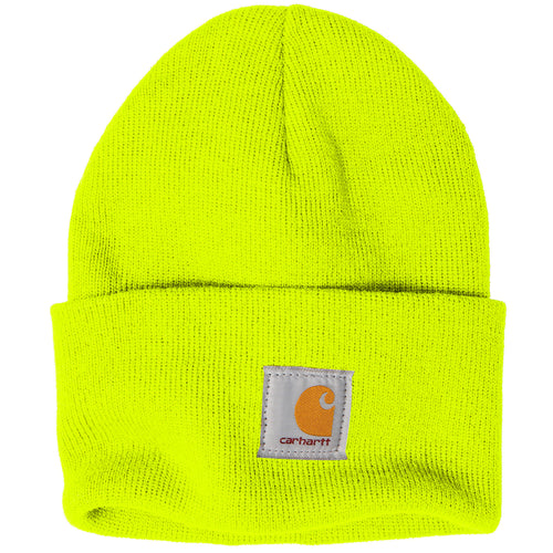 113df097 Stitched on the front of the Carhartt raised cuff knit winter watch hat is  the Carhartt