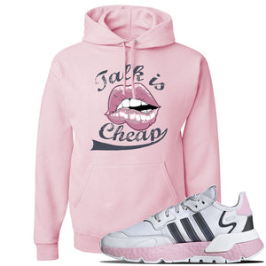 WMNS Nite Jogger Pink Boost Sneaker Classic Pink Pullover Hoodie | Hoodie to match Adidas WMNS Nite Jogger Pink Boost Shoes | Talk Is Cheap