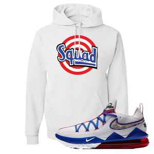 LeBron 17 Low Tune Squad Sneaker White Pullover Hoodie | Hoodie to match Nike LeBron 17 Low Tune Squad Shoes | Squad