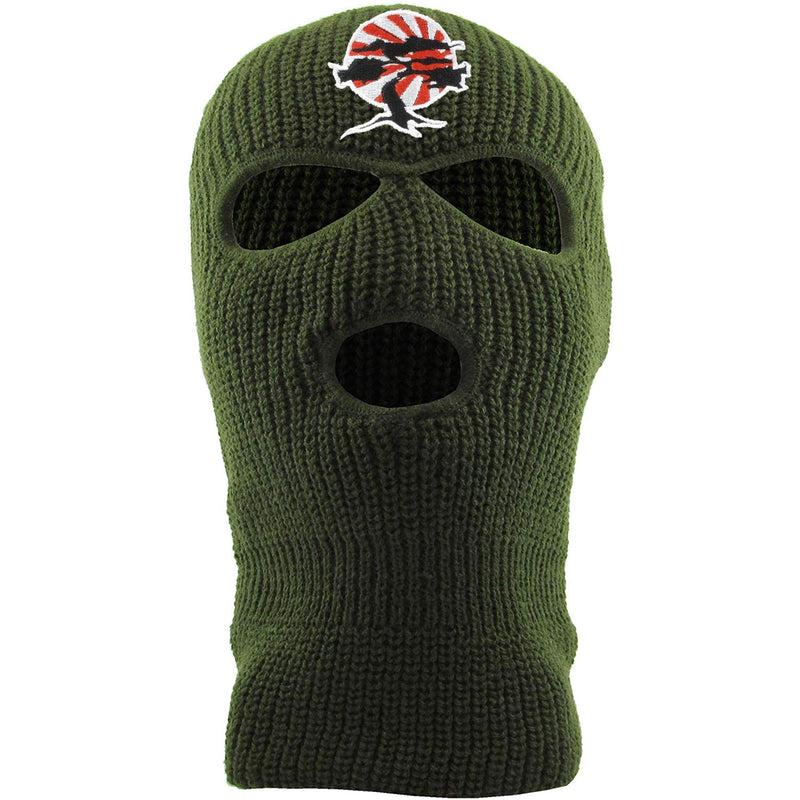 Embroidered on the front of the Foot Clan Bonsai Tree olive ski mask is the Foot Clan Bonsai Tree Rising Sun logo