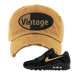 Air Max 90 Black Gold Distressed Dad Hat | Vintage Oval, Timber