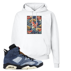 Jordan 6 Washed Denim Hoodie | White, Crane Over Water
