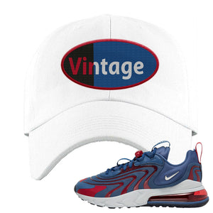 Air Max 270 React ENG Mystic Navy Dad Hat | Vintage Oval, White