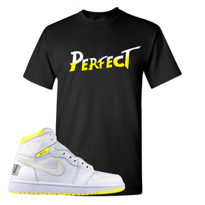 Air Jordan 1 First Class Flight Street Fight Perfect Black Sneaker Matching T-Shirt