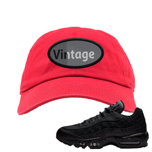 Air Max 95 Essential Black/Dark Grey/Black Sneaker Red Dad Hat | Hat to match Nike Air Max 95 Essential Black/Dark Grey/Black Shoes | Vintage Oval