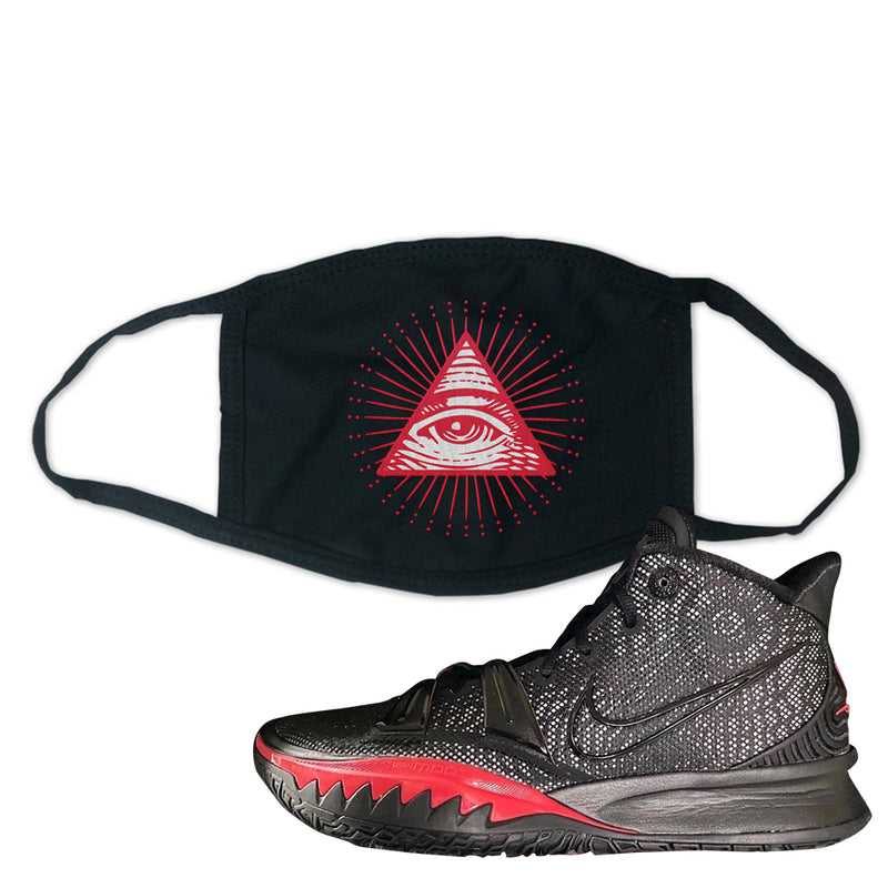Nike Kyrie 7 Black Red Face Mask | All Seeing Eye, Black