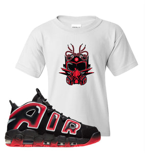 Air More Uptempo Laser Crimson Kid's T Shirt | White, Sneaker Mask