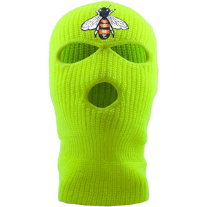 Embroidered on the front of the bumblebee safety yellow ski mask is the bumble bee logo embroidered in red, white, black, and gold Jackboys ski mask