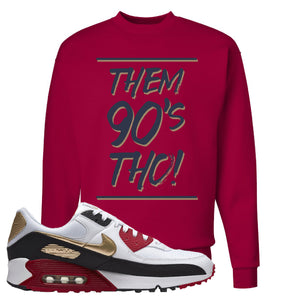 Air Max 90 Chinese New Year Crewneck Sweatshirt | Deep Red, Them 90's Tho