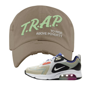 Air Max 200 WMNS Fossil Sneaker Khaki Distressed Dad Hat | Hat to match Nike Air Max 200 WMNS Fossil Shoes | Trap To Rise Above Poverty