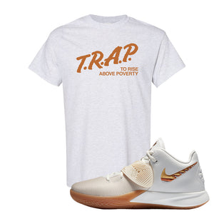 Kyrie Flytrap 3 Summit White T Shirt | Trap To Rise Above Poverty, Ash