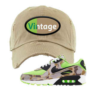 Air Max 90 Duck Camo Ghost Green Distressed Dad Hat | Khaki, Vintage Oval