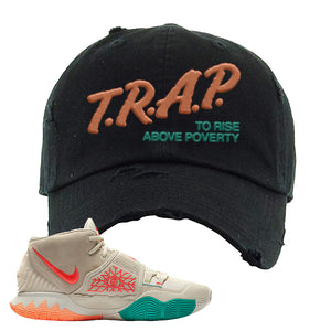 Kyrie 6 N7 Distressed Dad Hat | Black, Trap To Rise Above Poverty