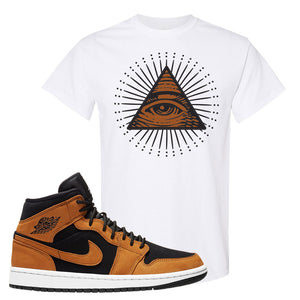 Air Jordan 1 Mid Wheat T Shirt | All Seeing Eye, White