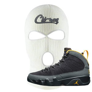 Air Jordan 9 Charcoal University Gold Ski Mask | Chiraq, White