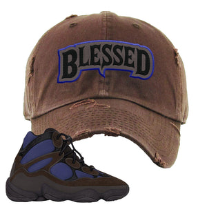 Yeezy 500 High Tyrian Distressed Dad Hat | Dark Gray, Blessed Arch