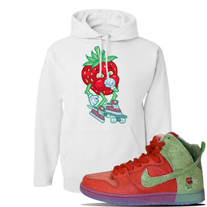 SB Dunk High 'Strawberry Cough' Hoodie | White, Coughing Berry