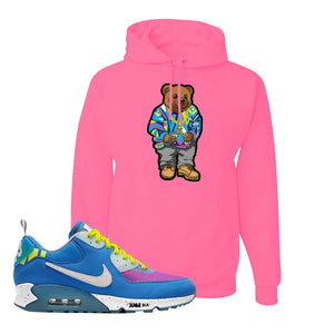 Undefeated x Air Max 90 Pacific Blue Sneaker Neon Pink Pullover Hoodie | Hoodie to match Undefeated x Nike Air Max 90 Pacific Blue Shoes | Sweater Bear