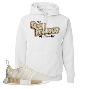 NMD R1 Chalk White Sneaker White Pullover Hoodie | Hoodie to match Adidas NMD R1 Chalk White Shoes | Fresh Princess Of Bel Air